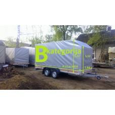 Piekabe B-kategorija ar tentu, kravnesība 290 kg, (reāli piekraut 1300 kg), Izmēri: 4.15 x 1.64 x 1.92