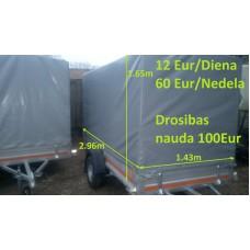 Piekabe B-kategorija ar tentu, kravnesība 470 kg, Izmēri: 2.96 x 1.43 x 1.65