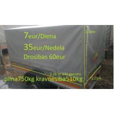 Piekabe B-kategorija ar tentu, kravnesība 510 kg, Izmēri: 2.26 x 1.25 x 1.16