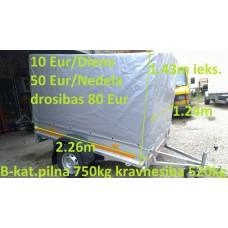 Piekabe B-kategorija ar tentu, kravnesība 520 kg, Izmēri: 2.26 x 1.24 x 1.43